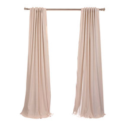 Exclusive Fabrics & Furnishings, LLC - Signature Ivory Blackout Velvet Curtain - Keep the light out and the heat in with these luxurious, lustrous curtains. Crafted from soft poly velvet and available in a variety of rich colors, they'll give your windows the royal treatment.