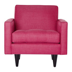 APT2B - The Monroe Chair, Pink Lemonade - With a Mad Men-esque silhouette, The Monroe is a perfect way to add a hip factor to any room. The clean lines and simple shape make it perfect for any small space. It packs a big punch without taking up a lot of square footage. Each piece is expertly handmade to order in the USA and takes around 2-3 weeks in production. Features a solid hardwood frame and upholstered in a 100% polyester fabric.