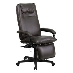"Flash Furniture - High Back Brown Leather Executive Reclining Office Chair - Go from sitting to a Reclined and Relaxed position in seconds with this Reclining High Back Executive Office Chair! Now you can have the best of both worlds with this dual designed office chair that offers you the comfort of a recliner in an office chair. This office chair offers you the standard pneumatic seat height adjustment with the added bonus of a reclining back and easy touch adjustable footrest.; High Back Recliner Swivel Chair; Made of Eco-Friendly Materials; Padded Headrest; Reclining Back Paddle Control; Reclining Back Paddle Control; Easy Touch Height Adjustable Footrest Lever; Footrest Adjusts in Increments; Depth Adjustable Footrest; Pneumatic Seat Height Adjustment; Black Metal Padded Arms; Heavy Duty Nylon Base; Dual Wheel Casters; Brown LeatherSoft Upholstery; LeatherSoft is leather and polyurethane for added Softness and Durability; CA117 Fire Retardant Foam; Weight: 42 lbs; Overall Dimensions: 24""W x 30"" - 42""D x 42"" - 45.75""H"