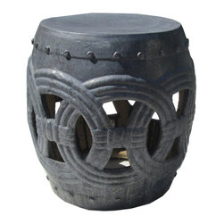Golden Lotus - Black Ceramic Clay Join Coin Round Stool Ottoman - Besides being a garden stool, this kind of stool is getting popular for decorating indoor home. It is mostly use as a table base/ small coffee table, plant stand or simply as a decor item. ( please understand there is a variation in the finish for the hand glazed item ) ( touch up marks from manufactory , please see photos for details )