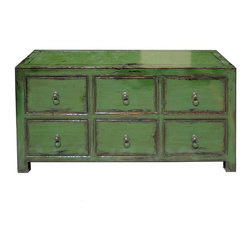 Golden Lotus - Green Glossy Lacquer Six Drawers Low Cabinet - This is a simple low cabinet with six large drawers and painted with grass green lacquer color. ( rustic green )