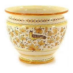 Artistica - Hand Made in Italy - Arabesco Giallo: Luxury Cachepot/Planter Medium - Arabesco Giallo Collection