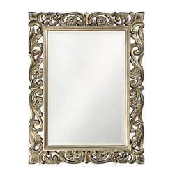 Howard Elliott Chateau Mirror - The Chateau Mirror features an ornate open scroll work rectangular frame accented with daisies that is finished in an antique French pewter.