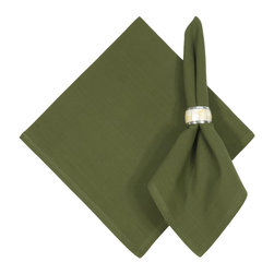 """Traders and Company - Hand Woven 100% Cotton Solid Spinach Green 22""""x22"""" Napkins, Set of 6 - Spinach - Imported hand-loomed 100% cotton napkins add a mark of color and elegance to your dining table. Napkin ring not included. Machine washable with similar colors in cold water, and cool dry. Made in India."""