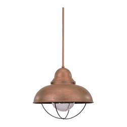 Sea Gull Lighting - Sea Gull Lighting Sebring Transitional Outdoor Pendant Light X-44-8566 - Refined industrial inspired is the Sea Gull Lighting Sebring Transitional Outdoor Pendant Light. With Clear Seeded glass, Its shade looks as though it was meant to be in a factory. The frame has a Weathered Copper or Brushed Stainless finish that offer a modern effect to a modest fixture.