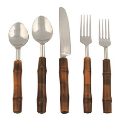 Be Home - Bamboo Flatware, 5 Piece Set - Kudos to you for going bamboo. This five-piece stainless-steel flatware set boasts handles made of the fastest-growing plant on the planet — which makes it an ecoconscious and attractive choice for your table.
