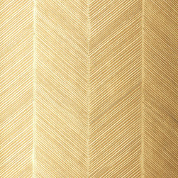 Schumacher - Chevron Texture Wallpaper, White Gold - Chevron Texture is composed of raised diagonal stripes, which are created by hand and form a wide herringbone pattern. This tailored wall-covering has a glamorous, metallic surface in a range of colors from pale White Gold to deep Burnished Bronze.