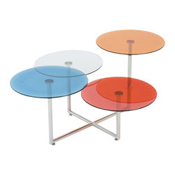 Eurostyle - Eurostyle Grayson Glass Coffee Table in Blue and Clear and Orange and Red - Eurostyle - Coffee Tables - 25866 - Color! The Grayson Table is a unique design and uniquely entertaining. The 4 colorful tops invite conversation as well as attention. Wherever you place this rainbow of color, the space will feel lighter and brighter.