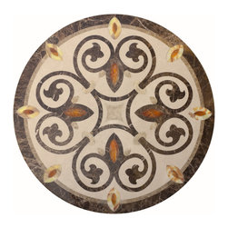 "Floor Medallions Online - 36"" Waterjet Medallion - New London - The New London waterjet medallion, with a hint of French influence, is a versatile piece that brings a touch of romantic sophistication to any room."