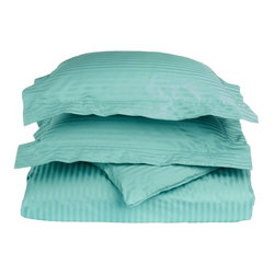 650 Thread Count Egyptian Cotton Full/Queen Teal Stripe Duvet Set - This Duvet Cover Set displays our traditional taste! The 100% Egyptian Cotton 650 Thread Count brings the unique feel of a high-quality luxurious sheets to your bedroom. This tone on tone stripe pattern will stay in style for years to come. Duvet includes convenient button closures. Set includes duvet cover and matching pillow-shams. Set includes one duvet cover 90x92 and two standard pillowshams 20x26.
