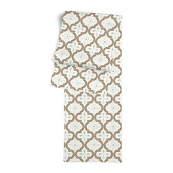 Tan & Aqua Quatrefoil Trellis Custom Table Runner - Get ready to dine in style with your new Simple Table Runner. With clean rolled edges and hundreds of fabrics to choose from, it's the perfect centerpiece to the well set table. We love it in this seafoam and taupe quatrefoil pattern on a soft sateen reflects the essence of classic Moroccan tilework.