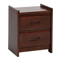 Chelsea Home - 2-Drawer Wooden Night Stand - Rustic style. Hand finished stain with three step process to compliment natural wood grain. Constructed for strength and durability. Warranty: One year. Made from solid pine wood. Dark finish. Made in USA. No assembly required. 19 in. W x 17 in. D x 23 in. H (63 lbs.)