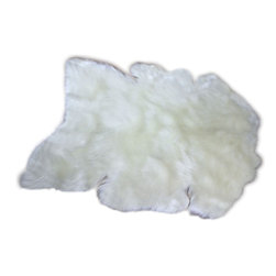 "Fur Accents - Thick and Shaggy Faux Fur Sheepskin Accent Rug / Off White, 30""x36"" - A Truly Sensible Alternative to Animal Skin Rugs. Fur Accents Faux Fur Sheepskin Rug. Rich Shaggy Off White Faux Animal Pelt. Our Popular Wild Mountain Sheep Design. Made from 100% Animal Free and Eco Friendly Hypoallergenic Fibers. Perfect for the Winter Lodge, Log Cabin, Family Room or Great Room, Bedroom or ANY room in the Houzz! Use it as a focal point in front of the Hearth or hang it on the wall over the Mantle. Tastefully lined with real Parchment Ultra Suede. Luxury, Quality and Unique Style for the most discriminating designer and decorator."