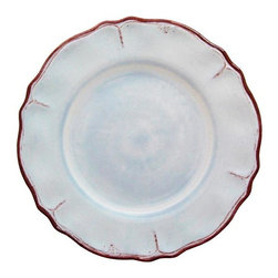 Home Decorators Collection - Rustica Dinner Plate - Add our Rustica Dinner Plate to your dinnerware collection. Crafted of dishwasher-safe melamine, this versatile plate has the look of ceramic. The classic color palette of the cottage style design is complemented by trim in chestnut maroon. Plates sold individually. Dishwasher safe. Not for use in the microwave.
