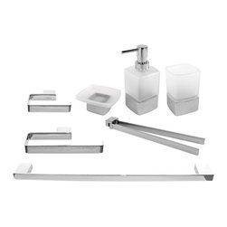 Gedy - Wall Mounted Chrome Brass Bathroom Accessory Set - Stylish, trendy 7-piece bathroom accessory set which includes towel hanger, toilet paper holder, towel bar, tumbler, soap dish, soap dispenser, and swivel towel bar.