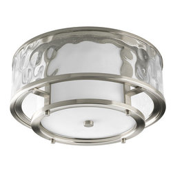 Thomasville Lighting - Thomasville Lighting P3942-09 Bay Court 2 Light Flushmount Ceiling Fixture - Thomasville Lighting P3942-09 Two Light Bay Court Flush Mount Ceiling FixtureConcentric circles of clear seedy hammered and smooth opal glass create a uniquely beautiful effect in this dual light Flushmount ceiling fixture. Brushed Nickel hardware showcases the brilliant use of contrasting glass finishes that will add elegance to any home.Bay Court antique nautical lanterns include minimalist undertones and subtle detailing that can add a calming effect to any room. Can be used in traditional and non-traditional fashions � as single pieces or multiples of two or more.Thomasville Lighting P3942-09 Features: