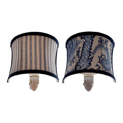 River of Goods - Set of Two 5 inch High Cloth Shade Nightlights - This set of two nightlights is absolutely charming. A combination of pinstripes and paisley design. The blue and white offer a fresh, look which would be perfect in a bedroom or bathroom