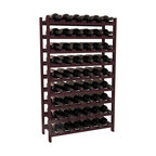 54 Bottle Stackable Wine Rack in Redwood with Burgundy Stain - Three times the capacity at a fraction of the price for the 18 Bottle Stackable. Wooden dowels enable easy expansion for the most novice of DIY hobbyists. Stack them as high as you like or use them on a counter. Just because we bundle them doesn't mean you have to as well!