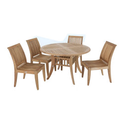 Westminster Teak Furniture - Grand Hyatt 4ft Dia 5pc Teak Patio Dining Set - 5pc Round Teak Dining Set comes complete with 4 Teak Dining Chairs with Arms and one 4ft Round Grand Hyatt Premium teak table.  Lifetime Warranty.