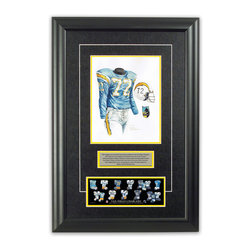"Heritage Sports Art - Original art of the NFL 1963 San Diego Chargers uniform - This beautifully framed piece features an original piece of watercolor artwork glass-framed in an attractive two inch wide black resin frame with a double mat. The outer dimensions of the framed piece are approximately 17"" wide x 24.5"" high, although the exact size will vary according to the size of the original piece of art. At the core of the framed piece is the actual piece of original artwork as painted by the artist on textured 100% rag, water-marked watercolor paper. In many cases the original artwork has handwritten notes in pencil from the artist. Simply put, this is beautiful, one-of-a-kind artwork. The outer mat is a rich textured black acid-free mat with a decorative inset white v-groove, while the inner mat is a complimentary colored acid-free mat reflecting one of the team's primary colors. The image of this framed piece shows the mat color that we use (Yellow). Beneath the artwork is a silver plate with black text describing the original artwork. The text for this piece will read: This original, one-of-a-kind watercolor painting of the 1963 San Diego Chargers uniform is the original artwork that was used in the creation of this San Diego Chargers uniform evolution print and tens of thousands of other San Diego Chargers products that have been sold across North America. This original piece of art was painted by artist Nola McConnan for Maple Leaf Productions Ltd. Beneath the silver plate is a 3"" x 9"" reproduction of a well known, best-selling print that celebrates the history of the team. The print beautifully illustrates the chronological evolution of the team's uniform and shows you how the original art was used in the creation of this print. If you look closely, you will see that the print features the actual artwork being offered for sale. The piece is framed with an extremely high quality framing glass. We have used this glass style for many years with excellent results. We package every piece very carefully in a double layer of bubble wrap and a rigid double-wall cardboard package to avoid breakage at any point during the shipping process, but if damage does occur, we will gladly repair, replace or refund. Please note that all of our products come with a 90 day 100% satisfaction guarantee. Each framed piece also comes with a two page letter signed by Scott Sillcox describing the history behind the art. If there was an extra-special story about your piece of art, that story will be included in the letter. When you receive your framed piece, you should find the letter lightly attached to the front of the framed piece. If you have any questions, at any time, about the actual artwork or about any of the artist's handwritten notes on the artwork, I would love to tell you about them. After placing your order, please click the ""Contact Seller"" button to message me and I will tell you everything I can about your original piece of art. The artists and I spent well over ten years of our lives creating these pieces of original artwork, and in many cases there are stories I can tell you about your actual piece of artwork that might add an extra element of interest in your one-of-a-kind purchase."