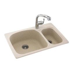 Swanstone - Swanstone Double Bowl Kitchen Sink, White (Ksls-3322.010) - Swanstone KSLS-3322 Double Bowl Kitchen Sink, White