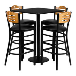 Flash Furniture - Flash Furniture 30'' Square Black Laminate Table Set - No need to buy in pieces, this complete Bar Height Table and Stool set will save you time and money! This set includes an elegant Black Laminate Table Top, Round Base and 4 Metal Slat Back Bar Stools. Use this setup in Bars, Banquet Halls, Restaurants, Break Room/Cafeteria Settings or any other social gathering. Mix in Bar Height Tables with standard height tables for a more varied seating selection. This Commercial Grade Table Set will last for years to come with its heavy duty construction.