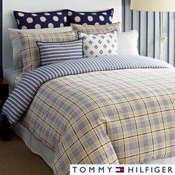 Tommy Hilfiger - Tommy Hilfiger Spectator Plaid 3-piece Duvet Cover Set - Surround yourself in this Tommy Hilfiger Spectator plaid duvet cover set, and you'll be sleeping in comfort as well as style. The double-sided duvet cover features a khaki plaid on one side with a blue-and-white striped print on reverse.