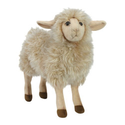 Hansa - Hansa Mama Sheep - Baah! Hansa sheep is made from ivory woolly plush with dark eyes and light beige face and legs. Ages 3 and up. Airbrushed for detail.