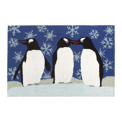 "Trans-Ocean Inc - Penguins Ice 30"" x 48"" Indoor/Outdoor Rug - Richly blended colors add vitality and sophistication to playful novelty designs. Lightweight loosely tufted Indoor Outdoor rugs made of synthetic materials in China and UV stabilized to resist fading. These whimsical rugs are sure to liven up any indoor or outdoor space, and their easy care and durability make them ideal for kitchens, bathrooms, and porches; Primary color: Blue;"