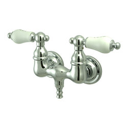 "Kingston Brass - Wall Mount Clawfoot Tub Filler - This clawfoot tub filler is constructed of high quality brass to ensure reliability and durability. Its premier finish resists tarnishing and corrosion. All mounting hardware is included and standard US plumbing connections are used.; 2.4 GPM (9 LPM) Max @ 60 PSI; Tub wall mount with 3-3/8"" centers; 1/4-turn ceramic disk cartridge; 1-3/4"" spout reach from wall; Standard US plumbing connections; Material: Brass; Finish: Polished Chrome Finish; Collection: Vintage"