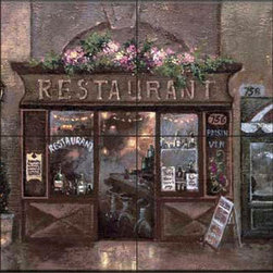 The Tile Mural Store (USA) - Tile Mural - Jl - Cafe Walk I - Kitchen Backsplash Ideas - This beautiful artwork by James Lee has been digitally reproduced for tiles and depicts a nice street scene that is perfect for a backsplash.  This street scene tile mural would be perfect as part of your kitchen backsplash tile project or your tub and shower surround bathroom tile project. Street scenes images on tiles add a unique element to your tiling project and are a great kitchen backsplash idea. Use a street scene tile mural, perhaps a Tuscan theme tile mural, for a wall tile project in any room in your home where you want to add interesting wall tile.