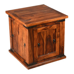 Sierra Living Concepts - Solid Wood Square Storage Box Trunk End Table - Distinctive Rosewood Storage Trunk Side Table. This Trunk Table has a great design for added storage with access from two sides. Great for items you want at your fingertips but do not necessarily want on display. Accented with Iron pulls and corners.