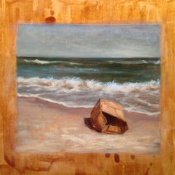 """""""Lost, Painting"""" - """"This is a 16"""""""" x 16"""""""" x 1"""""""" oil painting on shellacked wood panel, inspired by the aftermath of Hurricane Sandy. It is signed on the bottom right. Comes unframed but ready to hang, as it's already cradled. """""""