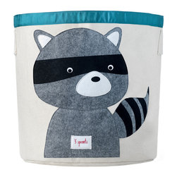 3 Sprouts - Raccoon Canvas Storage Bin - Raccoon Canvas Storage Bin