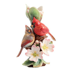 Franz Porcelain - FRANZ PORCELAIN COLLECTION Tender Affection Cardinals Dogwood Vase Small FZ02934 - Finished In Lead Free Glazes * Hand Painted By Franz Porcelain Artisans * FDA Approved Food/Plant Safe * New In The Original Box