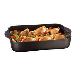 Swiss Diamond - Nonstick Large Roasting Pan - 5.8 qt - Whether its holiday cooking or simply cooking for a large family every day, a large roasting pan is a must for any home chef. Swiss Diamonds Nonstick Large 5.8qt Roasting Pan was designed with the full-size family in mind. Sear your meat on the stove top, then add veggies and throw this do-it-all pan into the oven (oven-safe up to 500 F). Made from cast aluminum construction, which provides perfect heat distribution to eliminate hot spots, and a patented nonstick coating that cleans up quickly and easily. Swiss Diamonds innovative coating rounds out this perfect roasting pan, providing a pristine nonstick surface that is simple to clean.