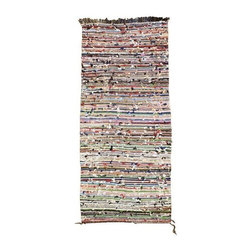 Pre-owned Nubby Multi Striped Boucherouite Runner - We love the thin stripes on this rainbow-hued vintage, one-of-a-kind rug. The sheer range of colors of the stripes becomes more impressive as you get closer. This boucherouite was woven by Berbers of the Atlas Mountains. The rich effect of color is matched amply by the sumptuously thick, tactile pile, making it a kind of modernist painting in wool. Clean professionally. Made of a Wool/Cotton/Poly blend, weighing approximately 10 lbs.