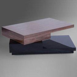 "Tosh Furniture - Modern Ambiente Walnut/Black High Gloss Rectangular Coffee Table - Ambiente Walnut/Black High Gloss Rectangular Coffee Table; Walnut Wood Veneer Top; Black High Gloss Base; Dimensions: 39"" x 25"" x 13"""