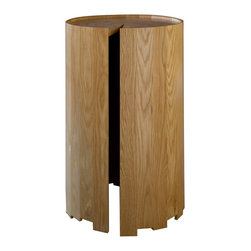 Edgewood - Edgewood Haycock Table - A Tree Grows InsideBring the feeling of the forest inside your home with this Haycock Table by Edgewood. Made of white oak, this table reacts to the seasons by naturally expanding and contracting through its cut out wedge. Simple modern style paired with the rustic feel of the tree trunk shape gives this side table a one-of-a-kind look. An uneven bottom edge furthers the rustic feel of this table while the natural beauty of wood grain shines through.Made to orderMade in the USA