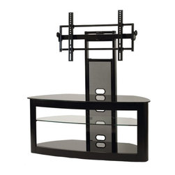 "Transdeco - 35"" - 65"" Flat Panel TV Stand - Features: -Curved front tempered safety glass top and bottom shelves.-Adjustable clear tempered glass middle shelf is removable for extra tall audio video components.-Cable management system to hide wires and cables.-Contemporary design compliments any room decor.-Accommodates most of the 35''-65'' plasma, LCD/ LED TV or not exceeding 150 lbs.-Top shelf weight capacity: 120 lbs.-Middle shelf weight capacity: 80 lbs.-Bottom shelf weight capacity: 120 lbs.-Constructed with engineered hardwood frame and heavy gauge powder-coated scratch resistant steel.-Distressed: No.-Recommended TV Type: LCD / LED, Plasma.-TV Size Accommodated: 35"" - 65"" TV.-Powder Coated Finish: Yes.-Gloss Finish: Yes.-Material: Glass, metal & wood.-Solid Wood Construction: No.-Casters: No.-Accommodates Fireplace: No.-Collection: Deco Entertainment.-Integrated Flat Screen Mount: Yes.Specifications: -Adjustable flat panel TV universal mounting system with 12 tilt up or down and 15 pivot left or right.-Holds at least 4 audio video components and a center channel speaker.Dimensions: -Top shelf: 30''W x 19''D.-Adjustable middle shelf: 30''W x 18''D x 7''H.-Bottom shelf: 30''W x 19''D x 8.5''H.-Maximum supported mounting interface: 15.75'' H x 27.56'' W.-Overall Height - Top to Bottom: 56.3"".-Overall Width - Side to Side: 50.2"".-Overall Depth - Front to Back: 22"".-Overall Product Weight: 95 lbs.Assembly: -Assembly Required: Yes.Warranty: -Product Warranty: 1 Year."