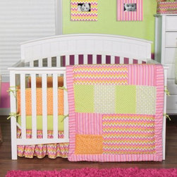 Trend Lab Baby Savannah 3 pc. Crib Bedding Set - Create a bright and cheery atmosphere in your newborn's nursery with the Trend Lab Baby Savannah 3 pc. Crib Bedding Set. This all-cotton set – which comes with a quilt, fitted sheet, and a box pleat skirt –features chevron with patches of variegated stripes, mini dots, lattice, and geometric circles in an adorable color palette of paradise and petal pink, tiger orange, chartreuse green, and white.About Trend LabFormed in 2001 in Minnesota, Trend Lab is a privately held company proudly owned by women. Rapid growth in the past five years has put Trend Lab products on the shelves of major retailers, and the company continues to develop thoroughly tested, high-quality baby and children's bedding, decor, and other items. Trend Lab continues to inspire and provide its customers with stylish products for little ones. From bedding to cribs and everything in between, Trend Lab is the right choice for your children.
