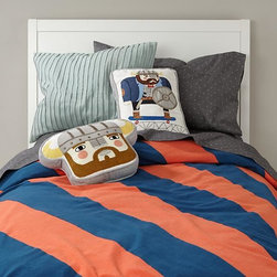 Dapper Duvet Cover, Blue/Orange - This quirky bedding set is the perfect combo of modern and medieval.