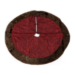 Selections by Chaumont - Christmas Burgundy Tree Skirt with Mink Fur Border by Selections by Chaumont - Give your Christmas tree just a bit more style when you use this burgundy Christmas tree skirt. The 52 round tree skirt is going to work for just about every home that gets together and decorates for the holidays. It has a faux mink border.
