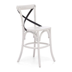 Zuo Modern - Union Square Counter Chair Antique White - Modeled after the most popular cafe chair in Europe, our versatile X-back counter chair comes in natural, antique black, and antique white. Frame is solid wood with antique metal accents.