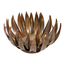 Safavieh - Large Lotus Pillar Candle Holder ACS1501A - The organic shape of the Large Lotus pillar candleholder references the ethereal, delicate blooming of the Lotus flower. Lovely, slender blossoms, crafted from a burnished iron, radiate from the candleholder cup for a enchanting, shadowy effect.