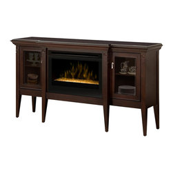 Dimplex - Dimplex Upton Electric Ember Fireplace in Espresso - Dimplex - Electric Fireplaces - GDS25G1253E - The Upton provides a focal point for any dining room setting; this cabinet offers the attributes of a traditional server with the added ambiance of a fire display. Stiletto type legs elevate the cabinet to server height with center legs standing proud of the cabinet to frame the fireplace. Behind each raised panel door there is storage space with adjustable shelves to organize china and collectables. Finished in a rich espresso for a stunning show piece.