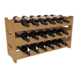 18 Bottle Mini Scalloped Wine Rack in Pine with Oak Stain - Stack three 6 bottle racks for proper storage of 18 wine bottles. This rack requires light hardware for assembly and is ready to use as soon as it arrives. Makes the perfect gift and stores wine on any flat surface.