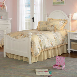 "Hillsdale - Westfield Youth Bed - Inspired by classic country cottage styling, the Westfield Youth Bed from Hillsdale Furniture features a traditional curved headboard, beadboard details, and lovely sculpted feet. Finished in a charming white, this bed is a refreshing and cheerful addition to your child's room. The Westfield Youth Bed is available in twin and full sizes. Features: -Off white finish. -Traditional curved headboard. -Includes footboard and metal side rails too. -Beadboard details. -Lovely sculpted feet. -Some assembly may be required. -Recommended care: Dust frequently using a clean, specially treated dusting cloth that will attract and hold dust particles. Do not use liquid or abrasive cleaners as they may damage the finish. -Please Note: Optional Serta Mattress ships separately from bedroom furniture, and may arrive for delivery on an earlier or later date than bedroom furniture.. Item Dimensions: -Twin headboard dimensions: 52"" H x 41"" W. -Twin footboard dimensions: 30"" H x 41"" W. -Full headboard dimensions: 52"" H x 56"" W. -Full footboard dimensions: 30"" H x 56"" W. -Twin/full bed metal rail dimensions: 78.5"" L x 54"" W. -Standard box spring height: 9"". -Low profile box spring height: 6""."
