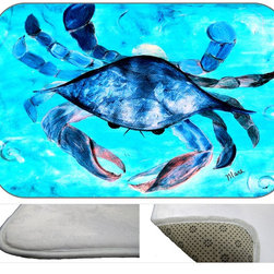 Blue Crab Plush Bath Mat, 30X20 - Bath mats from my original art and designs. Super soft plush fabric with a non skid backing. Eco friendly water base dyes that will not fade or alter the texture of the fabric. Washable 100 % polyester and mold resistant. Great for the bath room or anywhere in the home. At 1/2 inch thick our mats are softer and more plush than the typical comfort mats.Your toes will love you.