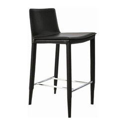 sohoConcept - Stool (Bar: Seat: 29.5 in., 18.5 L x 16 W x 3 - Choose Size: Bar: Seat: 29.5 in., 18.5 L x 16 W x 39 HStool is a stylish bar and counter stool with a comfortable upholstered seat. Backrest with steel tube frame structure wrapped by regenerated leather. Each leg is tipped with a plastic glide inserted to the metal tube. Stool has a slightly padded seat and chromed steel footrests. Seat is upholstered with regenerated leather only. Black Leatherette